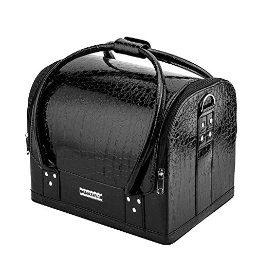Amasava Makeup Case, Professional Beauty Case, Leather Vanity Case with 4 Trays, Large Storage Make up Box Cosmetic Organiser for Makeup Set, Jewelry, Brushes, and Nail Art, Black