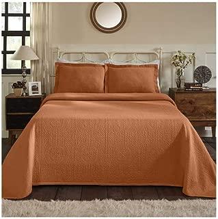 Superior 100% Cotton Medallion Bedspread with Shams, All-Season Premium Cotton Matelassé Jacquard Bedding, Quilted-look Floral Medallion Pattern - King, Mandarin