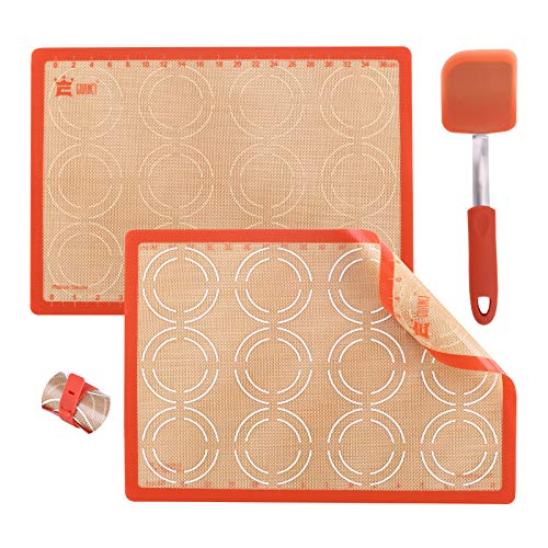 GUANCI Silicone Baking Mat Set with 10' Silicone Turner Spatula,2PCS 16-1/2'x11-1/2' Nonstick Rolling Macaron Baking Mat for Macaroon/Pizza/Cookie
