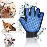 Pet Gloves Brush Gentle Dogs Grooming Gloves Cats Hair Remover Five Finger Pet Deshedding Glove Dog Cat Massage Mitt for Long & Short Fur 08 Blue Left