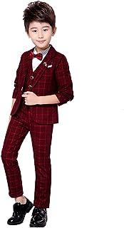 JKTOWN ボーイズ 男の子 スーツ 洋服 ジャケット ズボン ベスト 3点セット キッズ 入学式 入園式 発表会 結婚式 七五三 撮影 チェック柄 フォーマル