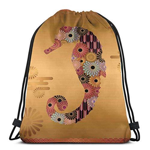 Bolsa de deporte con cordón para gimnasio, cincha de viaje, para mujeres, hombres, niños, decoración de caballito de mar con líneas florales y a rayas, estilo Kitsch linda imagen
