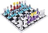 J & J Conjunto Internacional de ajedrez, Tablero de Madera de ajedrez clásico y Hecho a Mano estándar Pedazos de ajedrez para Niños Adultos
