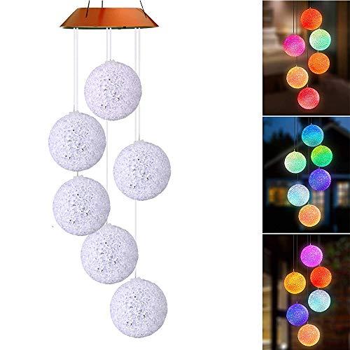 Lixada Solarbetriebene Außenwind Glocke Lichtspirale Spinner Licht Mobile Windspiel Glocke Kreative Solar LED-Licht Außen Hängende Dekoration Lampe