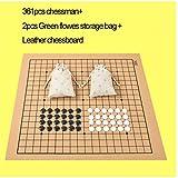 HNKPWY Uso estándar de ajedrez Go para el Juego de ajedrez Chessman Go de 19 líneasDiámetro 2.2cm Bolsa de Tela de Tablero de ajedrez de Cuero Weiqi Toy