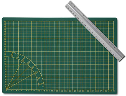 Kontor1 Set: Schneidematte + Aluminium Lineal 30cm   Bastelunterlage, Schneidebrett, A3, Grün, mit Winkelmaß und Zentimeterraster, selbstheilend