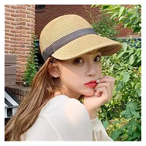 日よけ帽 麦わら帽子女性の屋外の学生のカジュアルな太陽の帽子日焼け止め夏の野球キャップのファッションレディースのための素敵なピークキャップ (Color : Khaki)