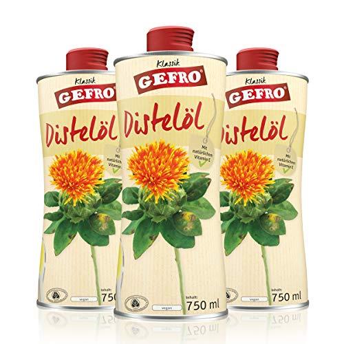 GEFRO Distelöl, hochwertiges Salatöl und für Rohkost, besonders gut verträglich (3x750ml)