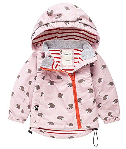 Meanbear Mädchen Übergansjacke Kinder Jacke mit Süßem Pattern Windjacke Regenjacke mit Kapuze Rosa - Größe 4-5 für Körpergröße ca.110cm