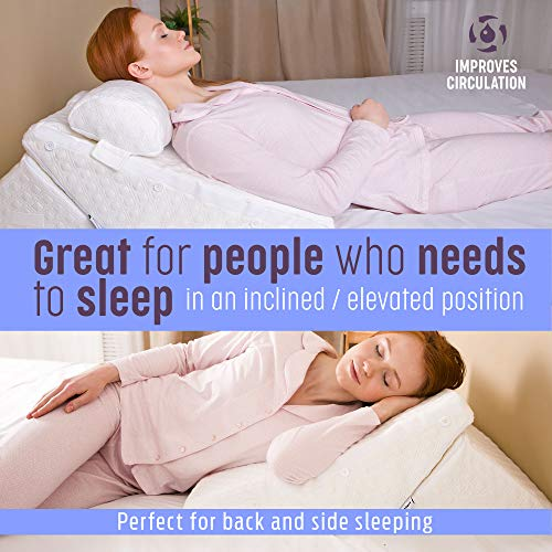 Flexicomfort Memory Foam Wedge Pillow for Sleeping with Adjustable Head Support Cushion - Post Surgery Pillow - Folding Incline Cushion System for Legs, Reflux, Gerd, Snoring, Back Pain-Washable Cover