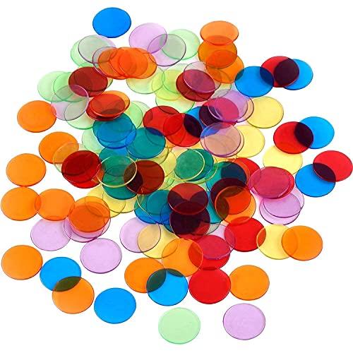 Lvcky 120 unidades de contadores de color transparente con fichas de bingo marcadores de plástico con bolsa de almacenamiento