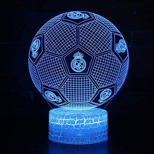 Fútbol Deportes Balón de fútbol Logotipo del Real Madrid CF 3D Acrílico LED Luz noctu
