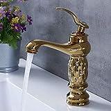 Grifo Grifos para lavabo de baño Grifo clásico de latón con diamantes Grifo de una mano para agua fría y caliente Grifos para lavabo mezclador de cristal dorado 2657
