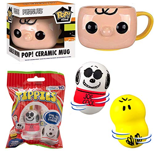 Cool Peanuts Charlie Brown & Gang Pop! Mug Bundled with Mini Figure Erasers + Snoopy Pencils + Sticker Character Friends Book 4 Items