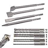 KSP-Tec | SDS Plus Bohrer & Meißel Set | Bohrer mit 4 Schneiden | Fließenmeißel, Flach & Spitzmeißel - verpackt in praktischen Drehbox
