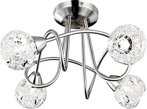 Elegante Deckenleuchte nickel matt Chromgeflecht, Kristalle klar - Globo SINCLAIR 5669-4D