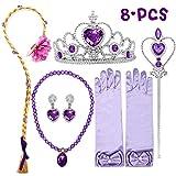 Accessori principessa per costume Rapunzel - Include un paio di guanti, tiara / corona, collana, bacchetta, orecchini. Set da principessa per principesse in super valore per bambine Parrucca Rapunzel di alta qualità - La parrucca Rapunzel è una parru...