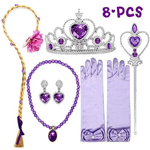 Wuree Princess Dress Up Rapunzel Parrucca Collana Orecchini Bacchetta Guanti Intrecciati Parrucche Principessa Festa di Raperonzolo Costume Accessori Regalo per Le Ragazze