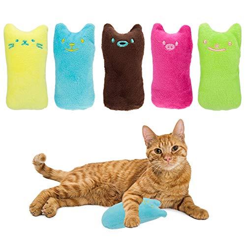 Girls'love talk Baldrian Kissen (5 Stück), Knuddelkissen Schmusekissen Katzen Kauen Kissen Spielzeug,Katzenminze Plüsch Spielzeug für alle Katzen und Kitten geeignet