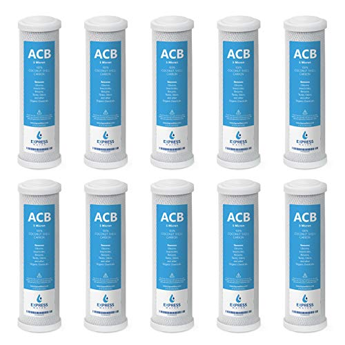 10 Pack Activated Carbon Block ACB Water Filter Replacement – 5 Micron, 10 inch Filter – Under Sink and Reverse Osmosis System