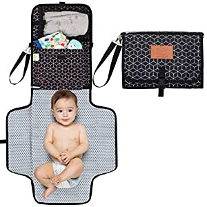 Baby Diaper Changing Pad – Portable Waterproof Diaper Changing Mat – Folding Diaper Changing Station – Travel Diaper Change Pads – Changing Clutch – Detachable Stroller Hooks – Baby Essential