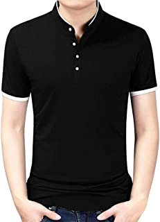 RAINED-Men's Business T-Shirts New Hipster Premium Tees Standing Collar Shirts Pure Blouse Tops Casual Short Sleeve Polo