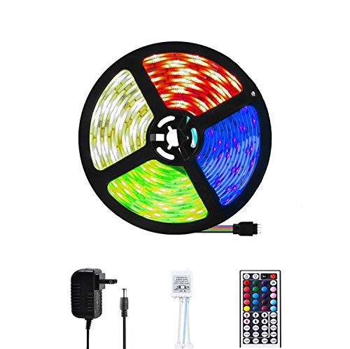 LED Strip Lights 16.4ft RGB Color Changing 5050 150LEDs Light Strips Waterproof Flexible LED Tape Light with 44 Key IR Remote Controller and 12V Power Supply for Bar Home Bedroom Decoration