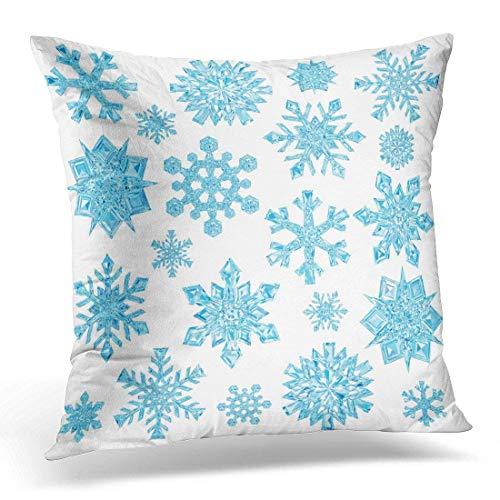 Ice of Light Blue Crystal Fiocchi di neve bianco ad alta risoluzione 3D Snow Pillow Cover Hidden Zipper Cotton Indoor Throw Federa cuscino 55,9 x 55,9 cm