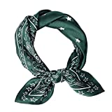 Pure Natural Mulberry Silk Scarfs Women Small Square Scarf 21' x 21' Breathable Lightweight Neckerchief Printed Headscarf (green-10)
