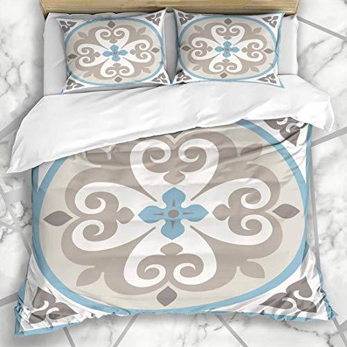 Bettbezug-Sets Boden Maurische Keramikfliesen Bodenbelag Mittelalterliche Fliesen Texturen Dekor Tessellation Marokkanisches Badezimmer Weiches Mikrofaser Dekoratives Schlafzimmer mit 2 Kissenbezügen