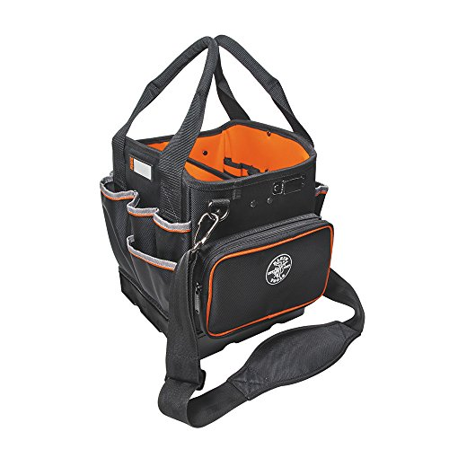 Klein Tools 5541610-14 Tool Bag with Shoulder Strap Has 40 Pockets for Tool Storage and Orange Interior