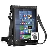 USA Gear Etui Protection en Néoprène pour Tablettes 12 Pouces, Ecran Transparent Tactile, Sacoche avec Sangle Ajustable - Compatible avec Samsung Galaxy Tab, ASUS, Apple iPad et Plus - Noir