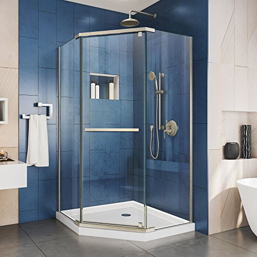 DreamLine Prism 34 1/8″ x 72″ Frameless Neo-Angle Pivot Shower Enclosure in Brushed Nickel