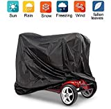 ZHSX Mobility Scooter Cover Waterproof | Wheelchair & Electric Scooter Storage Protective Cover Prevent Rain Wind Dust Sun UV, 145x140x68 cm Standard Size fits Most Disability Scooters (Black/Silver)
