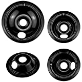 WB31M20 and WB31M19 Burner Drip Pan Replacement Compatible with GE Stove Replaces Black Burner Pans WB32X5070, WB32X5069 Include (3pack 6-in, 1pack 8-in) by Fetechmate