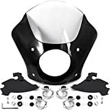 Krator NEW Black & Clear Quarter Fairing Windshield Kit + Fork Mounting Hardware Compatible with Harley Davidson Sportster Roadster XL1200R 2004-2008
