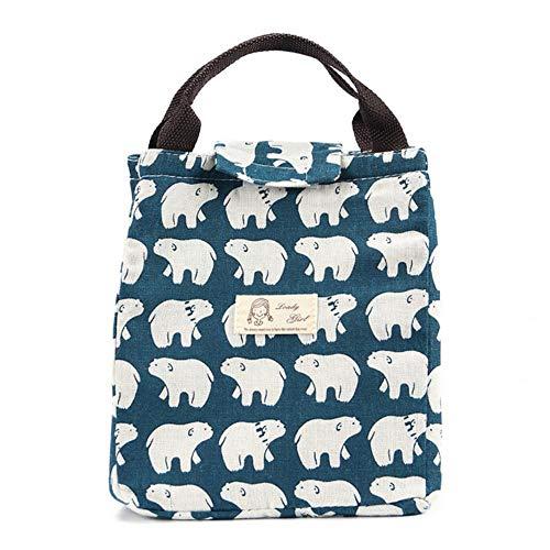 Schattige dieren walvis draagbare geïsoleerde canvas lunch tas thermische voedsel picknick voor vrouwen kinderen mannen koeler lunchbox tas tote, ijsberen