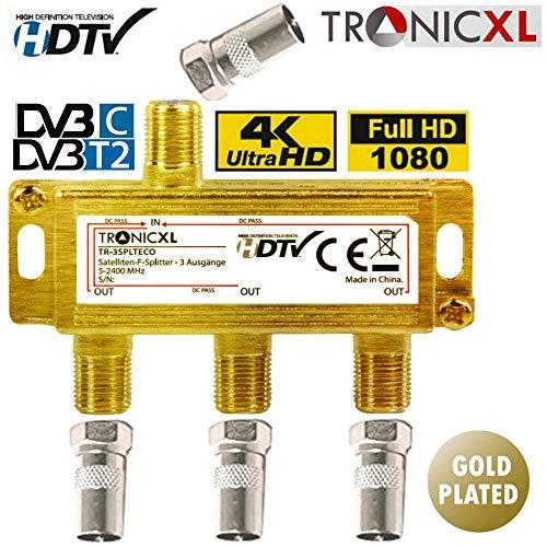TronicXL 3fach BK CATV Breitband Kabel Verteiler 3-Fach TV Weiche für DVB-T Kabelfernsehen SAT Splitter DVBS DVBS2 DVBT DVBC Digital Full HD TV Antennenverteiler Kabelfernseh hd tauglich 3D 4K TV UKW
