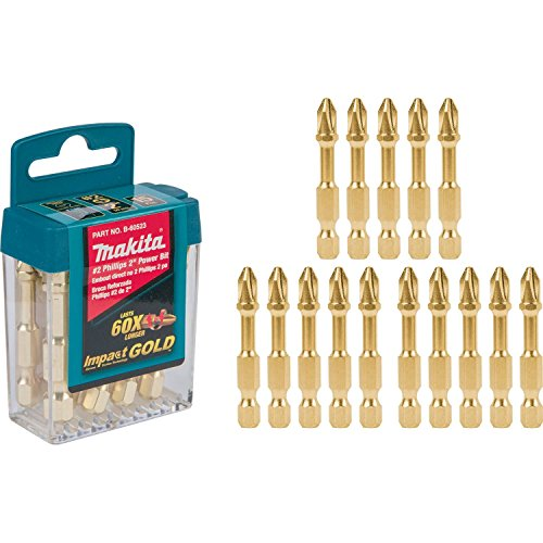 Makita B-60523 Impact Gold #2 Phillips 2″ Power Bit, 15/Pk