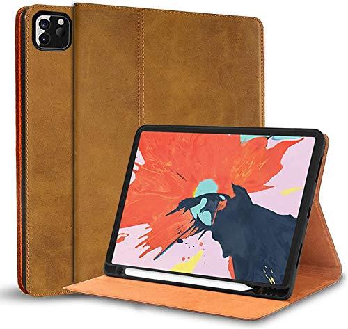 Funda para iPad Air 4 10,9 Pulgadas 2020, Portalápices Apple Integrado, Funda Tipo Folio De Piel De Vaca para iPad Air 4Th Generation Funda De Cuero Genuino,Brown2