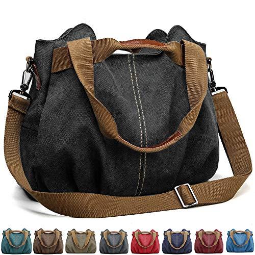 SCIEU Handtasche Damen Canvas Schultertasche Multifunktionale Umhängetaschen Casual Hobo Groß Taschen für Arbeit Schule Beach Shopper Schwarz