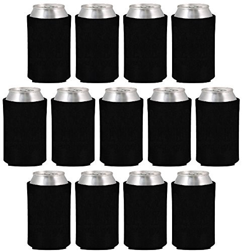 Neoprene Can Sleeves - Pack of 13 Black Plain Beer and Soda Can Cooler Covers Fit 12 oz Cans and 12 to 16 oz Glass & Aluminum Bottles by Impirilux