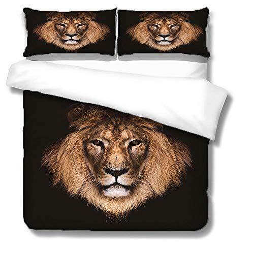 IXGMI Lion Duvet Cover Super King Animal Pattern 3D Printed Bedding Duvet Cover with Zipper Closure for Home Decro, Soft Microfiber Bedding Set 260x220cm