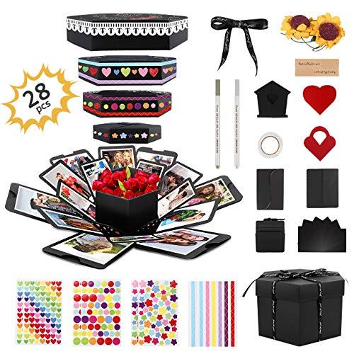Gifort Explosion Box, Creative DIY Photo Album de Accesorios, Hecho a Mano Sorpresa Explosión Caja de Regalo Amor Memoria para cumpleaños Aniversario Boda San Valentín Día de la Madre Navidad