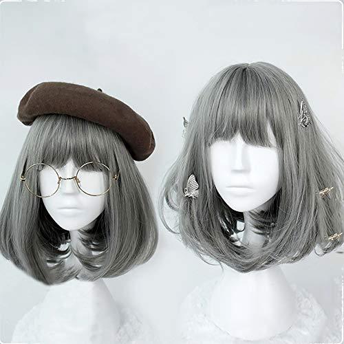 16 inch hair Gals Japan Harajuku Daily Hair Sweet Lolita Grey Wig Christmas Anime Cosplay Party Costume Super Natural Club Full Wigs