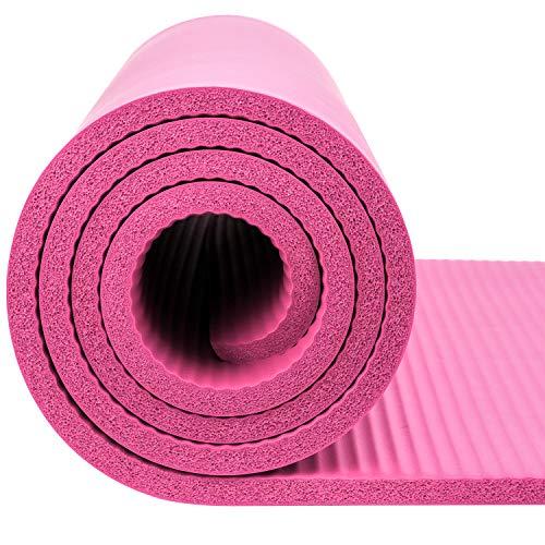 Inconnu Reehut Tapis D'exercices de Yoga- 12 mm Très épais NBR Haute Densité, pour Pilates, Forme Physique et Entraînement, avec Sangle de Transport(Rose)