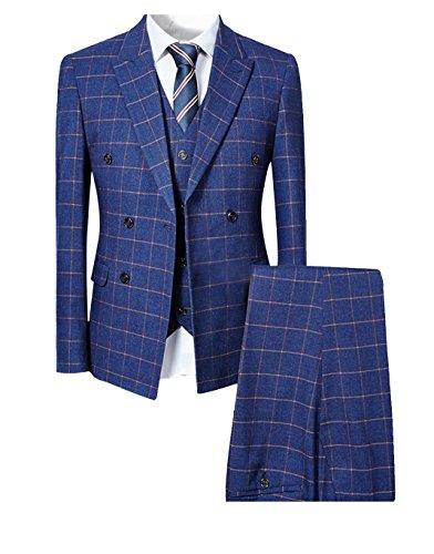 Men's Plaid Modern Fit 3-Piece Suit Blazer Jacket Tux Vest & Trousers,Blue,X-Large