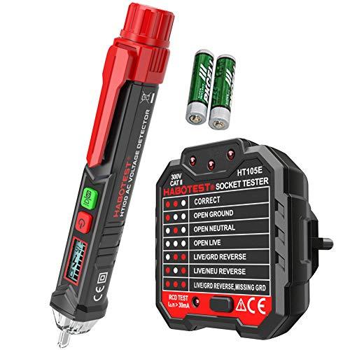 amropi Berührungslos Wechselstrom Spannung Stift Detektor und Erweiterte RCD Elektrische Steckdosenprüfer (1 Stift & 1 Steckdosenprüfer)