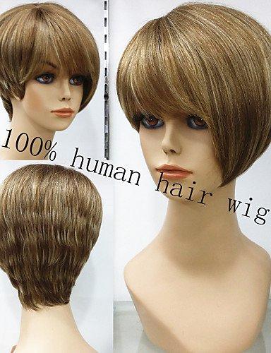 Peluca de pelo humano Exquisitede Wigstyle natural, sin pegamento, peluca de pelo corto dorado marrón con las pelucas de pelo Remy en venta baratas