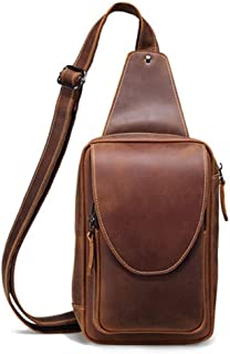 Lcxliga Men's Leather Sling Bag Multipurpose Daypack Shoulder Chest Crossbody Bag